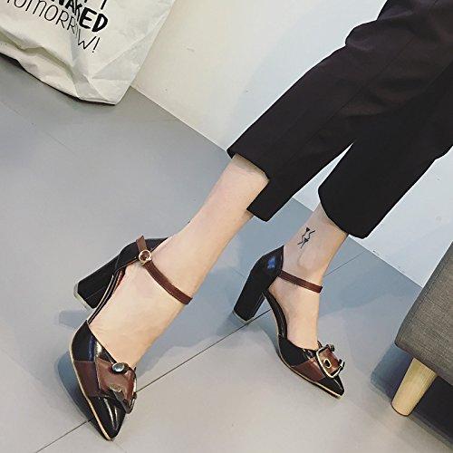 Femmes Pompe à cheville Pommes Pointes Toe Mules Boucle de ceinture Couleur Hollow Chaussures hautes chaussures Chaussures simples Chaussures simples Chaussures à talons hauts Noir Abricot Black