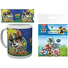 Set: La Patrulla Canina, Tracker Taza Foto (9x8 cm) Y 1 La Patrulla Canina, Set De Chapas (15x10 cm)