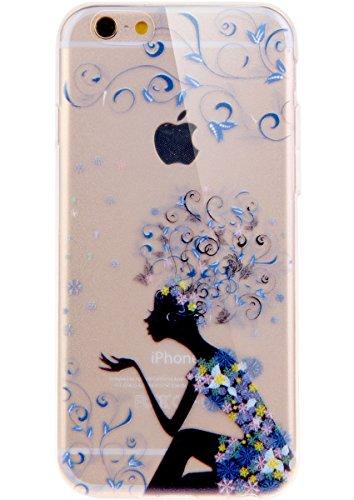 """Coque pour iPhone 6 6S 4.7"""", ISAKEN Transparente Ultra Mince Souple TPU Silicone Etui Housse de Protection Coque Étui Case Cover pour Apple iPhone 6 6S 4.7 Pouce (Fleur Pêche) Robe Bleu"""
