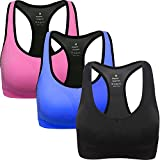 ANGOOL Damen Komfort Klassische Racerback Sport BH Top Fuer Yoga Fitness-Training(L,Schwarz+blau+rosa)