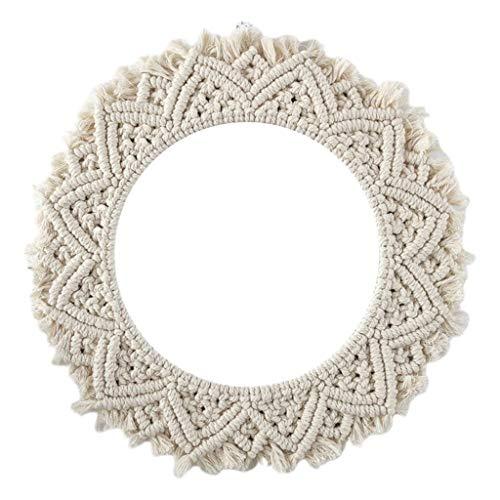 JOENZO 2019 NEUE Runde Spitze Wandbehang Spiegel Art Deco Handgemachte Baumwolle Seil Runden Spiegel für Wohnzimmer Gartendekoration, 1 -