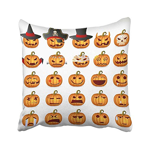 (Zcfhike Cartoon Sketch Happy Halloween Holiday with Owl Cat Bat Pumpkin Candle Cauldron Witch Hat Lollipop Candy Throw Kissen Covers 18x18 Inch Decorative Cover Kissencase Cases Case Two Side)