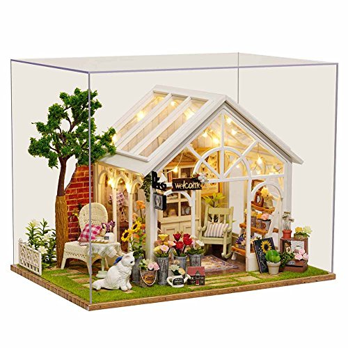 DIY Wooden DollHouse, Sunlight Greenhouse Model Handcraft Miniature Kit with Music box for Birthday Xmas Gift -
