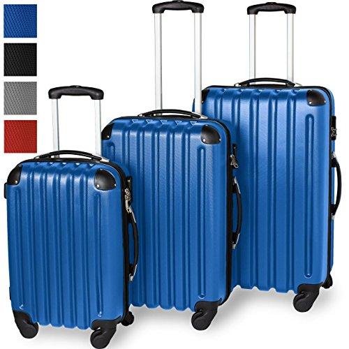 3-teiliges ABS Reisekofferset, Hartschalenkoffer, Ultraleicht, 360° Rollsystem, 4 Rollen, Aluminium-Teleskopstange, Blau