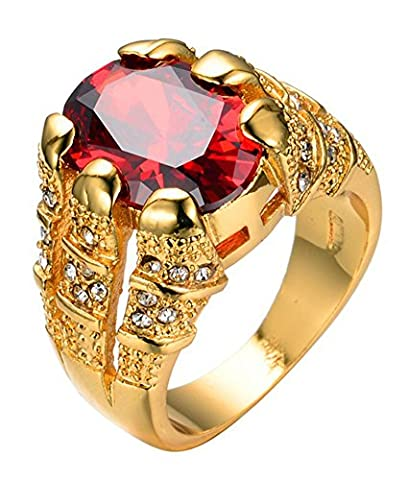 SaySure - Big Oval Red Stone Crystal Sapphire Zircon Rings (SIZE : 12)
