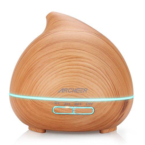 Preisvergleich Produktbild Aroma Diffuser,  kühler Dunst Luftbefeuchter 300ml Ätherisches Öl Düfte Diffusor ruhige automatische Abschaltung 7 Farbe Nachtlicht für Schlaf-,  Bade- oder Kinderzimmer,  Yoga Spa Holzmaserung
