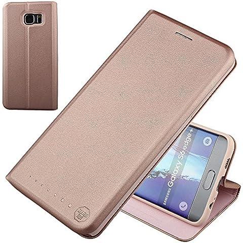Nouske Samsung Galaxy S6 Edge Plus Funda protectora de tipo Cartera para teléfonos móviles/TPU protección frente a golpes/Estuche para tarjetas de crédito/Soporte/Conciso y Ultra delgado/Hebilla magnética,oro rosa