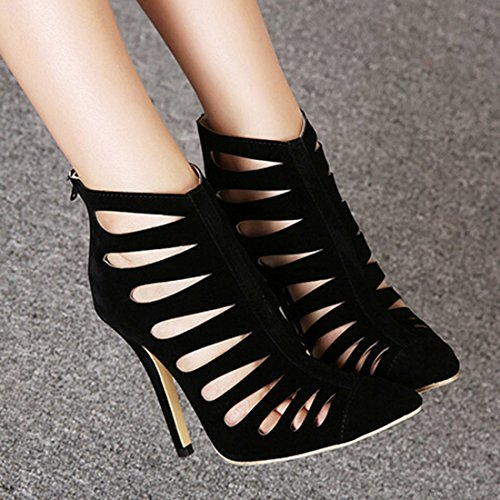 Oasap Femme Chaussure A Talons Hauts Pointu Ajouré Talons Aiguilles Noir