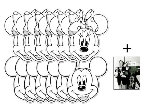 Disney Mickey Mouse und Minnie Mouse Farbe in Karte Partei Gesichtsmasken (Maske) Packung von 12 - Enthält 6X4 (15X10Cm) starfoto