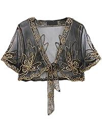 Laisla Fashion Coprispalle Donna Elegante Mode Giovane Abbigliamento Cardigan  da Cerimonia Partito Stola Top Maniche Corte Trasparente… 540fb1e24335