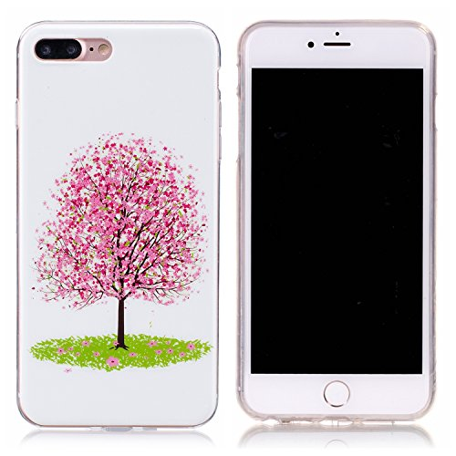 iPhone 7 Plus Hülle, E-Lush TPU Soft Silikon Tasche Transparent Schale Clear Klar Hanytasche für Apple iPhone 7 Plus (5.5 Zoll) Durchsichtig Rückschale Ultra Slim Thin Dünne Schutzhülle Weiche Flexibe Sakura