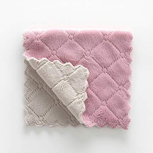 camellia Coral Velvet Spültuch Antihaft-Öl Zwei-Farben-Rag Absorbent Beidseitige verdickte Geschirrtuch Küche Geschirrtuch (grau-lila)