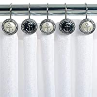 Chictie 12 Piece Vintage European Style Nautical Black&White Anchor Decorative Shower Curtain Hooks Round Stainless Steel Anti-Rust Rings for Bathroom Hangers