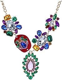 Yazilind lujo Vogue collar chapado en oro collar de cadena de diamante de imitación babero Flor colorida