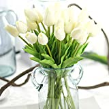 Artificial Flowers,Fake Flowers Bouquet Silk Tulip Real Touch Bridal Wedding Bouquet for Home Garden Party Floral Decor 10 Pcs (White)