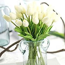 Flores artificiales decoración Plásticas tulipanes de seda Ramo Nupcial de la Boda para el Hogar Fiesta 10 piezas (Blanco)
