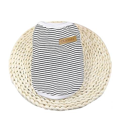 VêTements Pour Chien,Angelof VêTements Pour Chiens T-Shirt Veste à Rayures Habillement ÉTé (M, Noir)