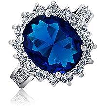 Bling Jewelry Royal 5ct ovale zaffiro simulato anello di fidanzamento rodiata
