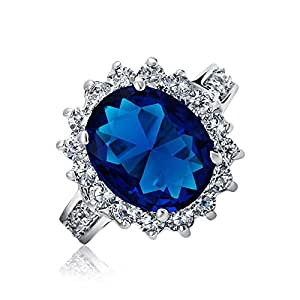Royal 5ct Oval Simulated Sapphire Engagement Ring Rhodium Plated