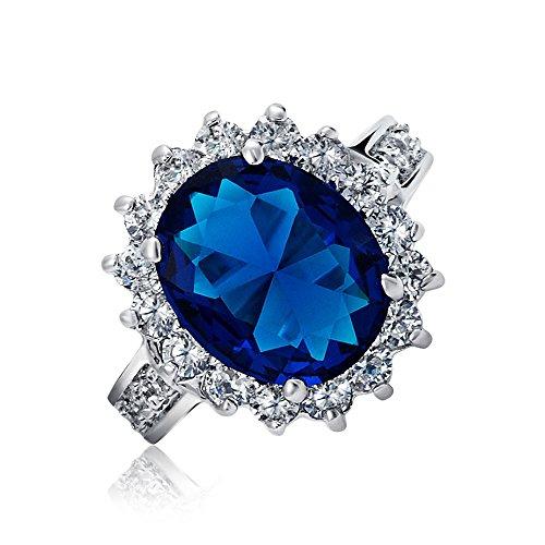 Bling Jewelry 5ct ovale bleu zircone cubique CZ Saphir simulées de la Couronne promise Ring Engagement Halo Ouvrir Band Laiton Rhodié