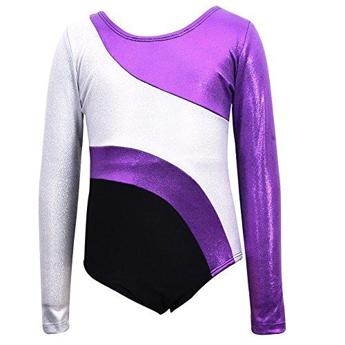 Wingbind Trikots für Kinder Mädchen Kind Gymnastik Ballett Tanzkleid einteilige Langarm funkeln tanzen gymnastik athletische (Kostüme Sport Tweens Halloween Für)