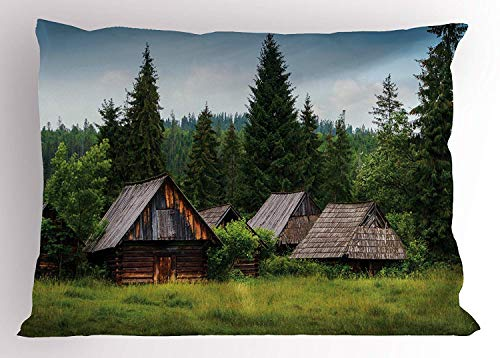 Ytavv Scenery Pillow Sham, Abandoned Wooden Hoses with Old Roofs in a Forrest Hills of The Mountain Print, Decorative Standard Queen Size Printed Pillowcase, 30 X 20 inches, Green and Brown