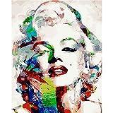 Guume Rahmenlos Frameless Wall Decor Bilder DIY Malen nach Zahlen Hand Leinwand Malerei Farbe Monroe Moderne abstrakte Ölgemälde 40X50cm