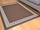 Brown Greek Key Non Slip Machine Washable Rug. Available in 6 Sizes (120cm x 160cm)