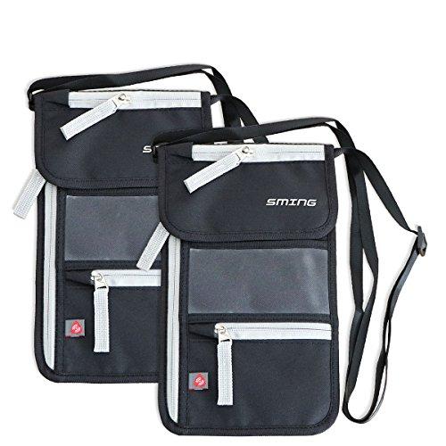 SMING Bolsa viajera Porta Pasaporte de cuello con Bloqueo RFID - Cartera compacta de cuello(2 pack)