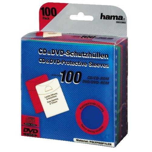 Hama Leerhüllen (CD-/DVD-/Blu-ray, 100 Stück, Schutzhüllen im Slim-Design, Sleeve aus Kunststoff) farbig (Slim Dvd-hüllen Farbig)
