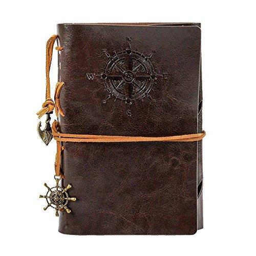 HRYSPN Retro Vintage Ubierta de Cuero de la PU Cuaderno Agenda, Bloc de Notas Pirata Náutico Revista Diario Timón de Cuerda, Libreta Mano Escrito Viaje