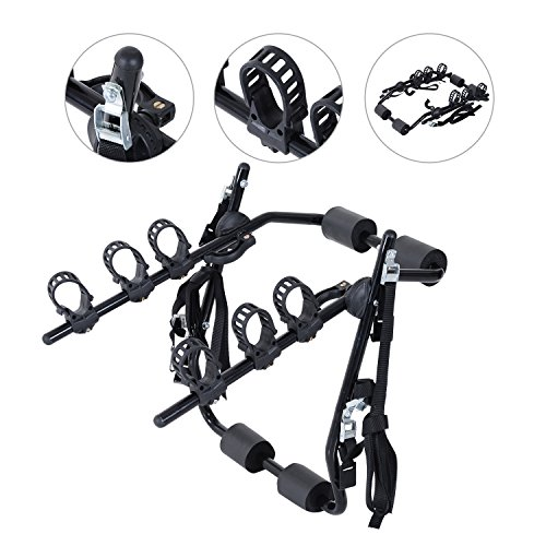 Outsunny 3 Bike Rear Hitch Mount Carry Rack Car Truck Carrier w/Fix Strap - Black
