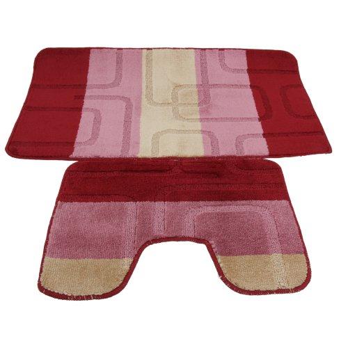 Badematten- und WC-Vorleger-Set, 2-teilig, Quadrat-Design, 5 verschiedene Ausführungen (Siehe Beschreibung) (Rosa/Beige)