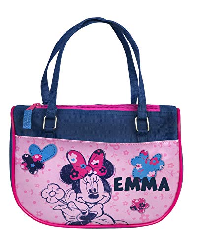 Kindergartentasche mit Namen | Personalisieren & Bedrucken | Motiv Minnie Mouse | Handtasche für Kinder Mädchen | inkl. NAMENSDRUCK