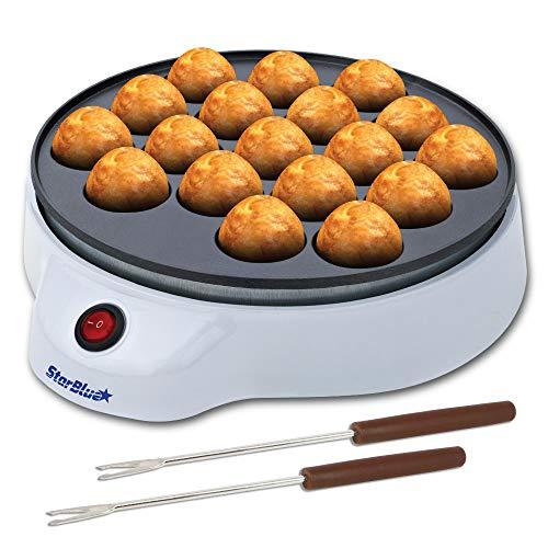 StarBlue Takoyaki Maker kostenlosen Takoyaki-Spießchen - Unkompliziert zu bedienende elektrische Maschine zur Herstellung japanischer Takoyaki Octopus Bällchen AC 220-240V 50/60Hz 650W, UK-Stecker