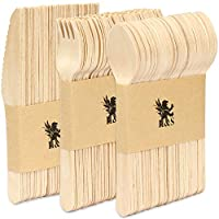 H&S 150pcs Wooden Cutlery Set Disposable Biodegradable Wood Eco Friendly for Party - 50 Forks, 50 Knives, 50 Spoons
