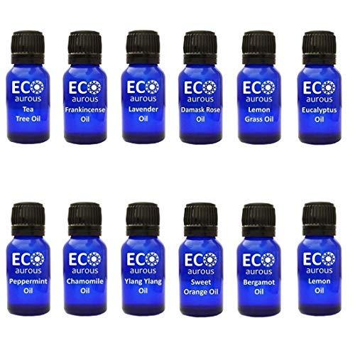 Organic Aromatherapy Essential Oils Set(12X10ml(0.33 oz Each) Pure & Natural - Eucalyptus, Damask Rose, Peppermint, Sweet Orange, Tea Tree, Lemongrass, Bergamot, Lavender & Chamomile Oil - Kit Tea Tree