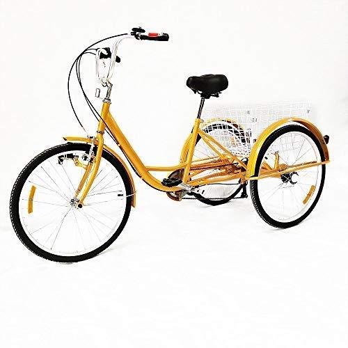 """DiLiBee 24\"""" 6-Gang Adult Tricycle 3 Rad Fahrrad Dreirad Erwachsene Pedal Bike mit weißem Korb für Outdoor Sports Shopping (Licht)"""