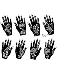 Henna Tattoo 8pochoirs modèle Sheet Fleur 8–Henna peints