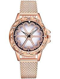 Mymyguoe Reloj de la Flor de la Suerte Reloj de Pulsera Reloj de Cuarzo Reloj Mujer