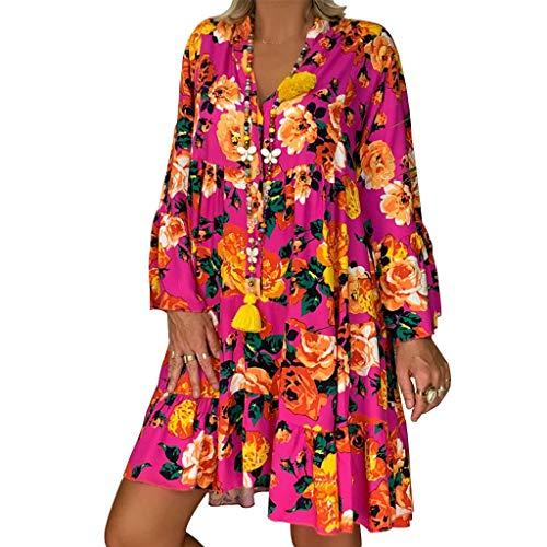 LOPILY Frauen Große Größen Blumenmuster Kleider Boho Stil Übergröße Sommerkleider Blumendruck Knielang Kleid Kurzarm Kleid Tunika Swing Kleid (Rosa,40) -