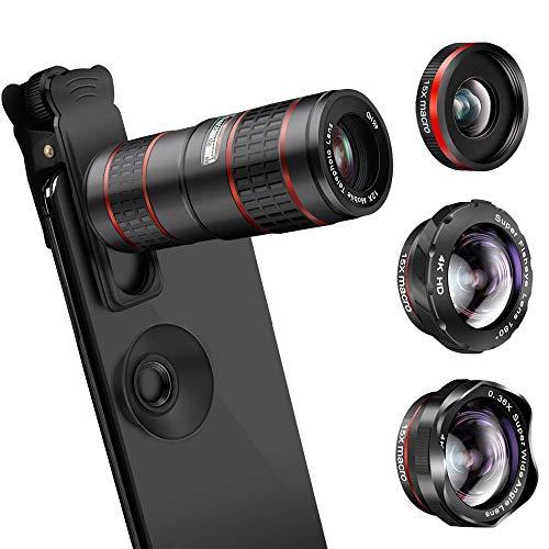 5 in 1 Clip-On Handy Objektiv Kit, 0.36X Weitwinkelobjektiv + 15X Makro-Objektiv (2 Stück) + 12X Tele-Teleskop Zoom-Objektiv + 180 ° Fisheyeobjektiv für iPhone, Samsung, Huawei Smartphones