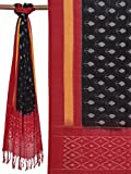 Red and Black Pochampally Ikat Cotton Handloom Dupatta with Arrow Design