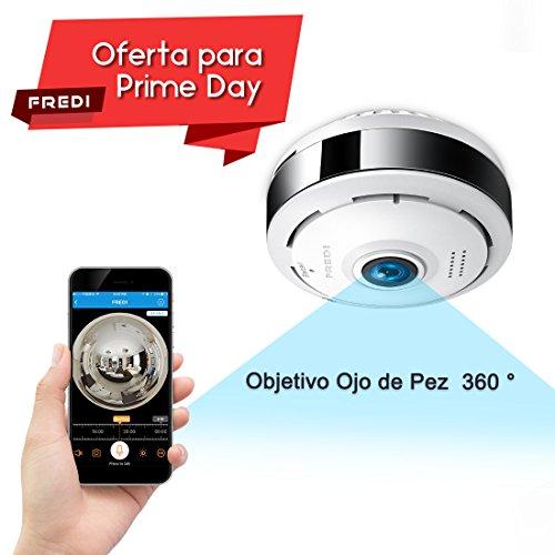 960P HD IP Wifi Cámara de Seguridad FREDI, Cámara de Vigilancia Panorámica de 360 grados, Deteccion de Movimiento con Visión Nocturna de Infrarrojos /2 way talking/para Monitorización Doméstica / de Bebé y Mascotas