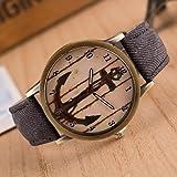 Schöne Uhren, Frauen neue Denim-europäische Art und weise Retro- Anker beiläufige Armbanduhr ( Farbe : Schwarz )