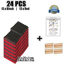 Super Dash Combinacion (24 Unidades) de 25 X 25 X 3 cm Rojo & Negro Insonorizacion Eggcrate Espuma Absorcion Aislamiento Acustica Paneles Tratamiento Conjunto SD1040 (ROJO & NEGRO)