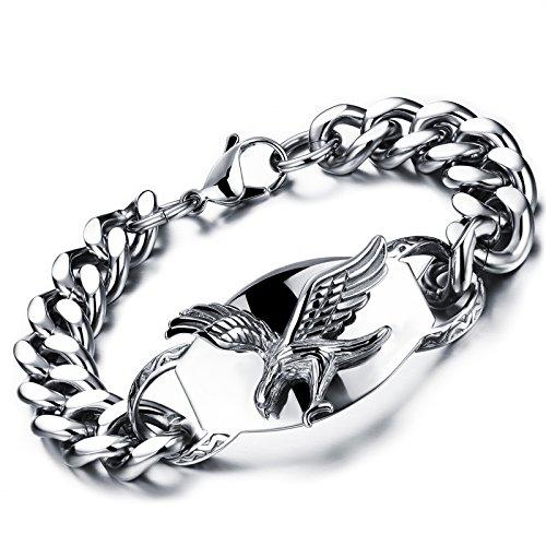 flongo-edelstahl-armband-link-handgelenk-panzerkette-silber-schwarz-adler-falke-motorradfahrer-biker