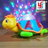 #7: YIJUN Happy Turtle Battery Operated Baby / Kids Toy , Bump N Go Animal Toy with 3D Flashing Lights and Music