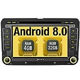 Pumpkin Android 8.0 Autoradio Moniceiver für VW mit Navi Unterstützt Bluetooth DAB+ WLAN 4G Android Auto USB MicroSD CD DVD Aux Doppel Din 7 Zoll Bildschirm