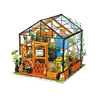 ROBOTIME 3D DIY House Kit Greenhouse with LED Light Miniature Woodcraft Dollhouse Puzzle Challenge Gift Set
